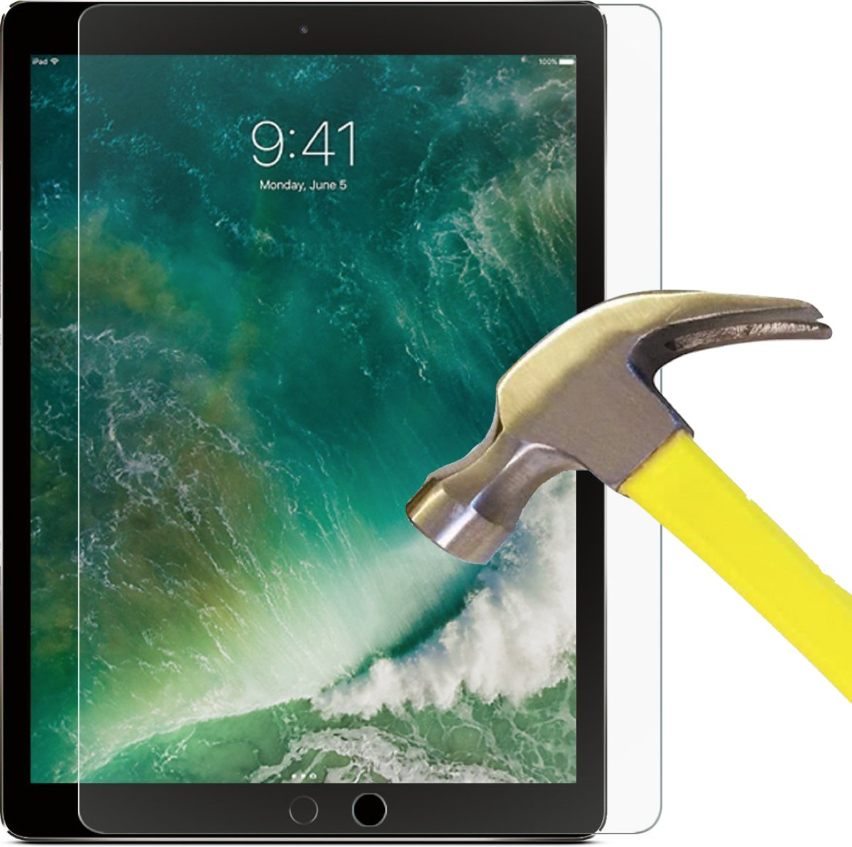 Apple iPad Pro 12.9 Inch (2017) - Tempered Glass Screenprotector Transparant 2,5D 9H (Gehard Glas Screen Protector - 0.3mm)