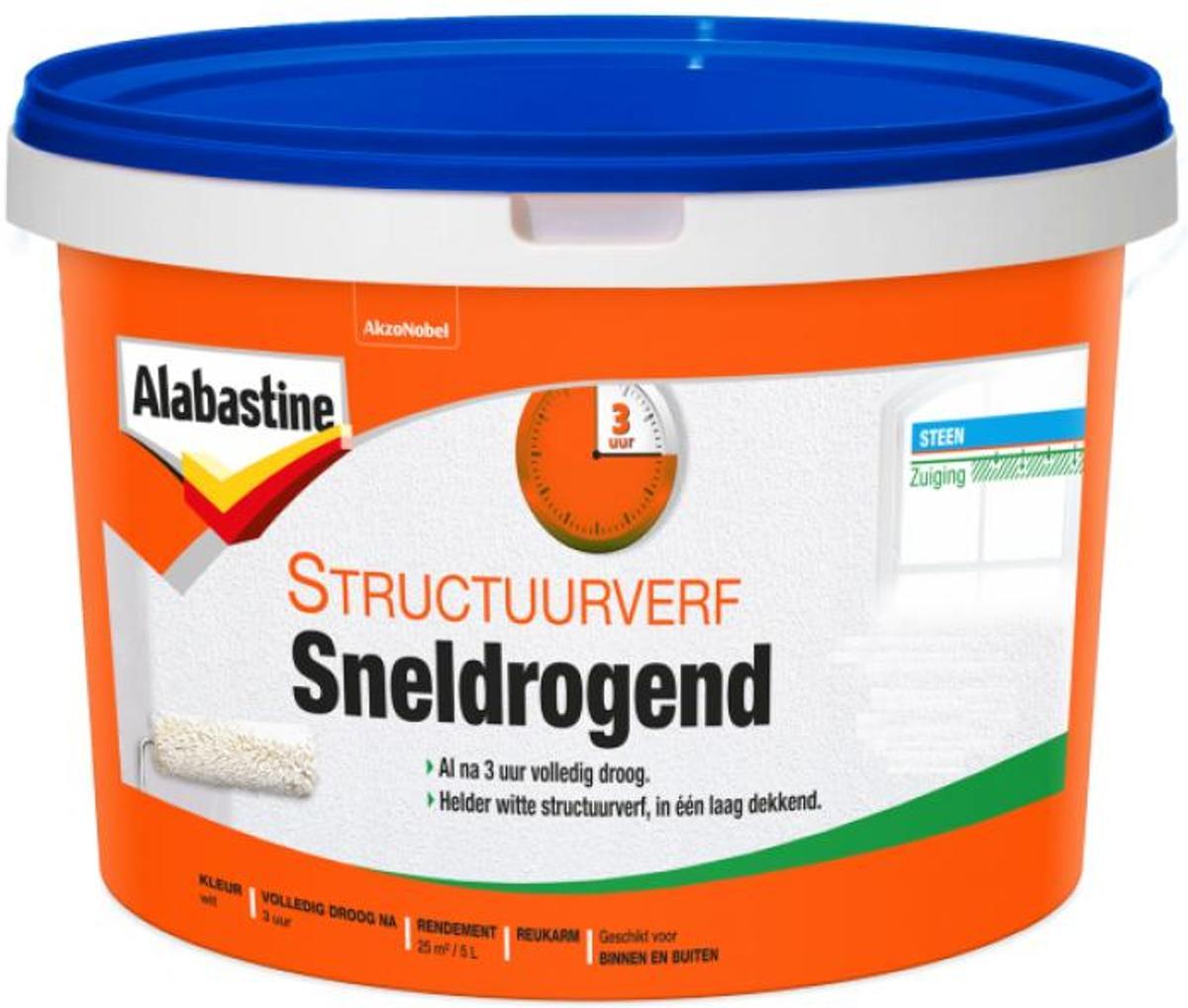 Alabastine Structuurverf Sneldrogend Fijn Wit (5 liter)