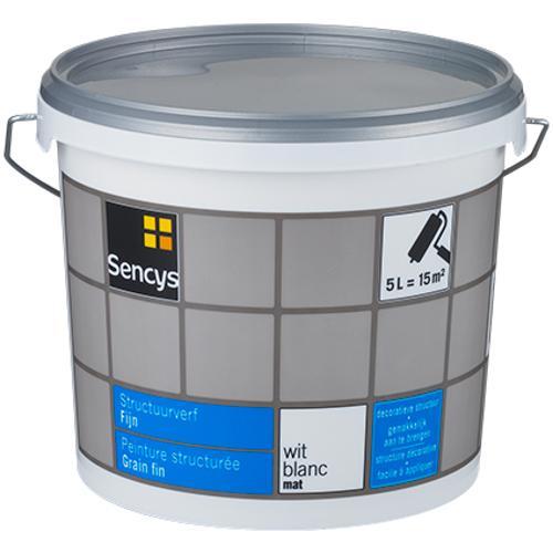 Sencys structuurverf mat fijn wit 5L