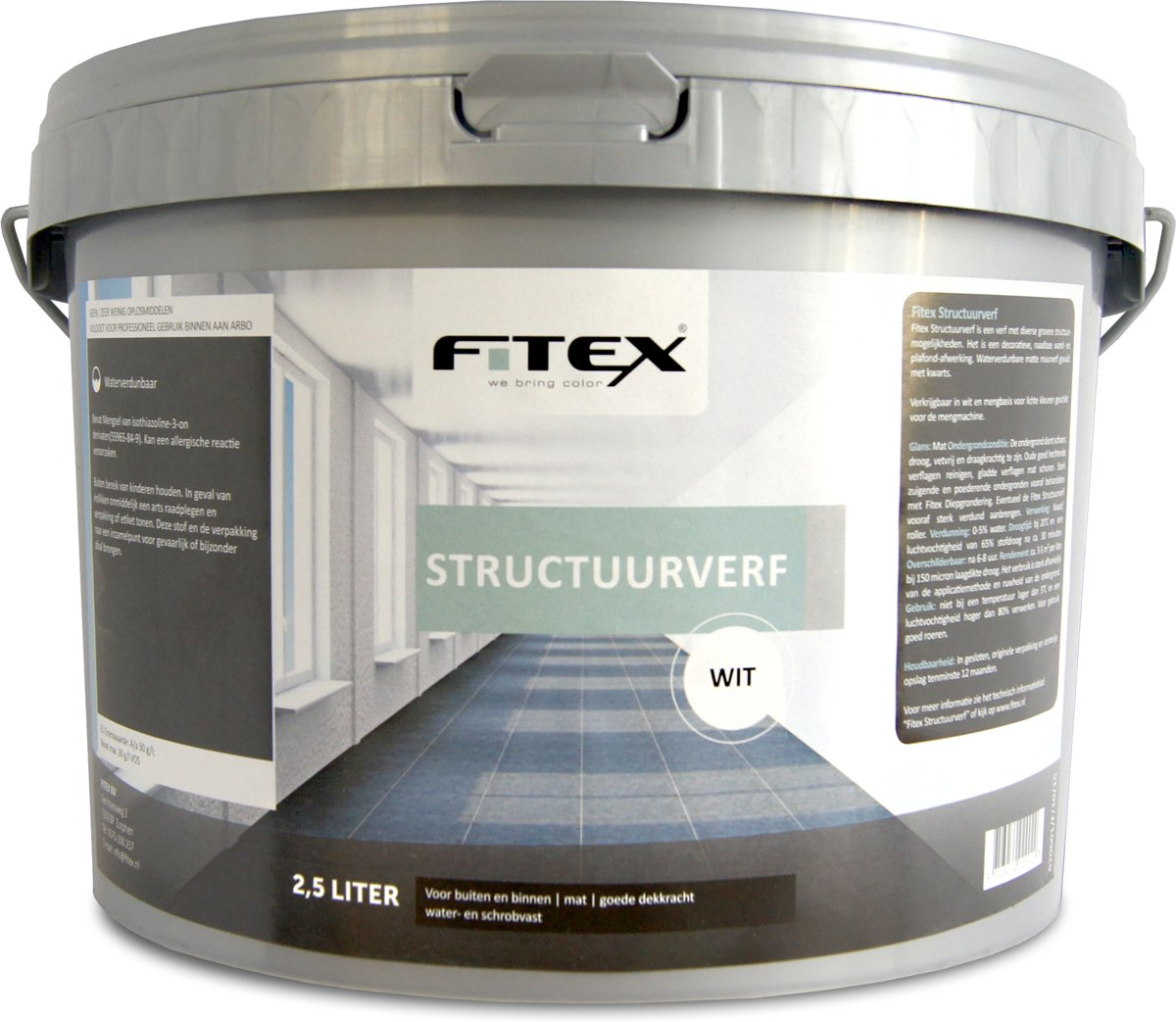 Fitex Structuurverf - Wit - 2,5 liter