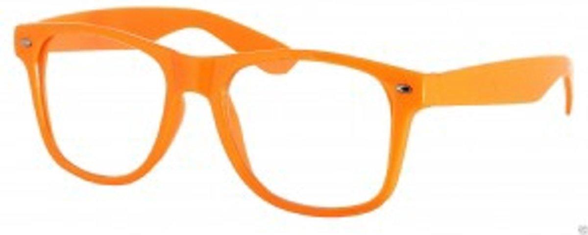 Wayfarer model nerdbril zonder sterkte - oranje