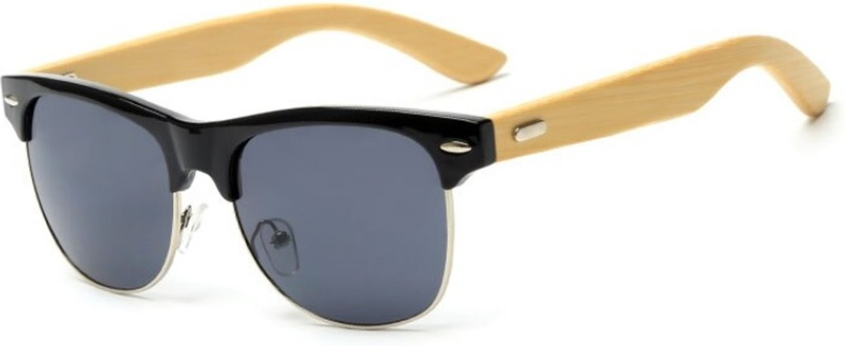 Houten Clubmaster Zonnebril - Zwart Frame Zwarte Glazen - Goedkope bril