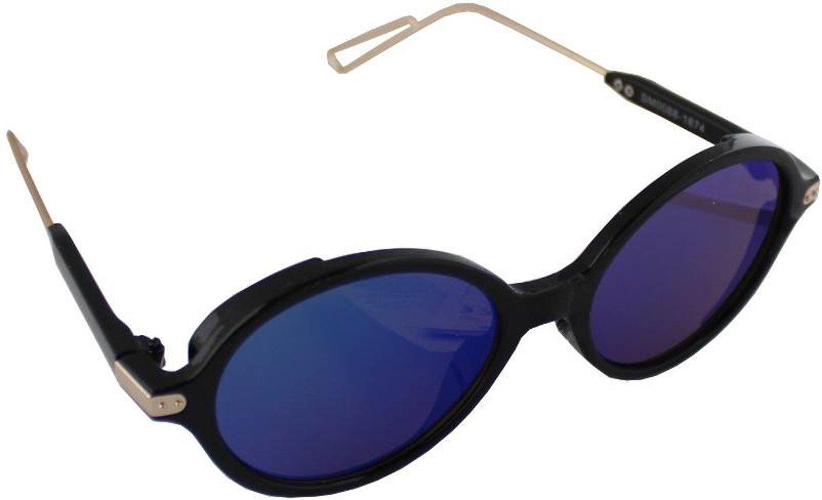Zonnebril UV 400 Ovaal Zwart Donkerblauw