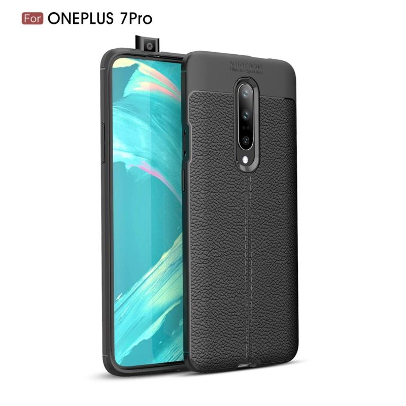 Litchi textuur TPU schokbestendige Case voor OnePlus 7 Pro (zwart)