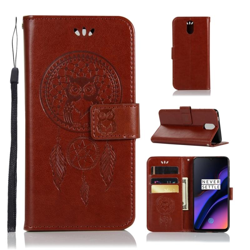 Wind klokkenspel Owl reli?f patroon horizontale Flip lederen draagtas met houder & kaartsleuven & portemonnee voor OnePlus 6T (bruin)