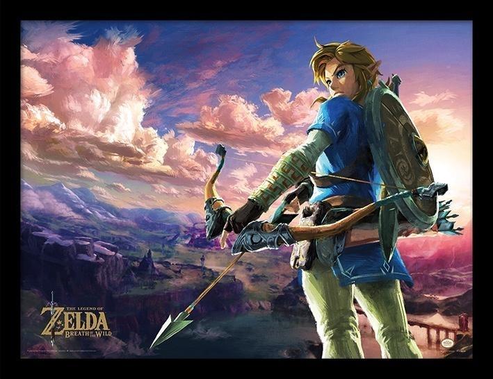 The Legend of Zelda Breath of the Wild Framed Print - Hyrule Scene (30x40cm)