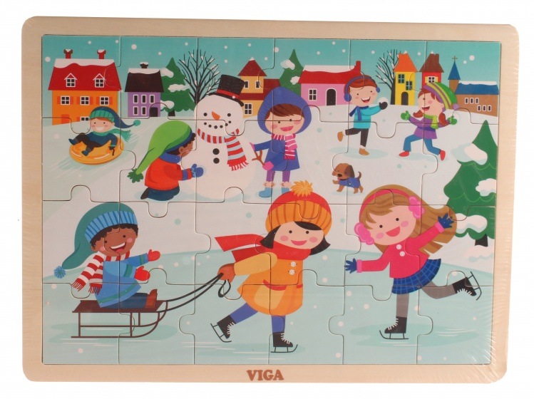 Viga Toys legpuzzel Four Seasons winter 24 stukjes