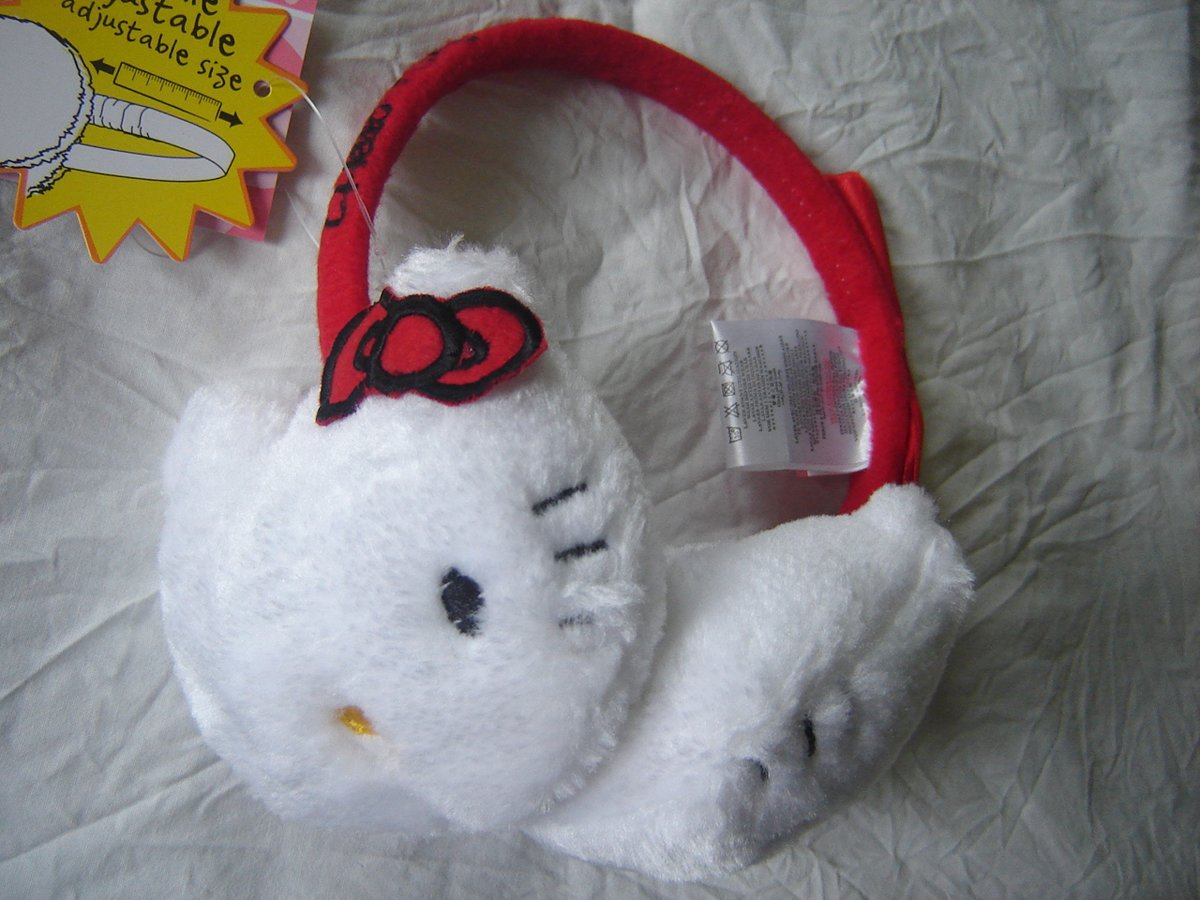 Rode/witte oorwarmers van Hello Kitty