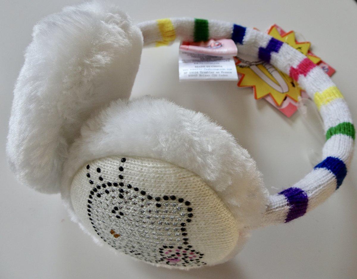 Wit gestreepte oorwarmers van Hello Kitty