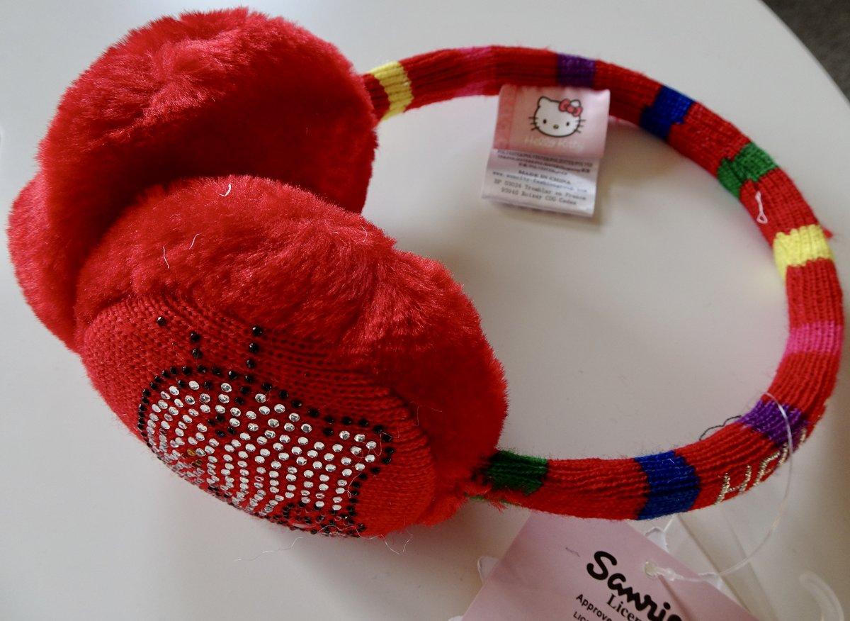 Rood gestreepte oorwarmers van Hello Kitty