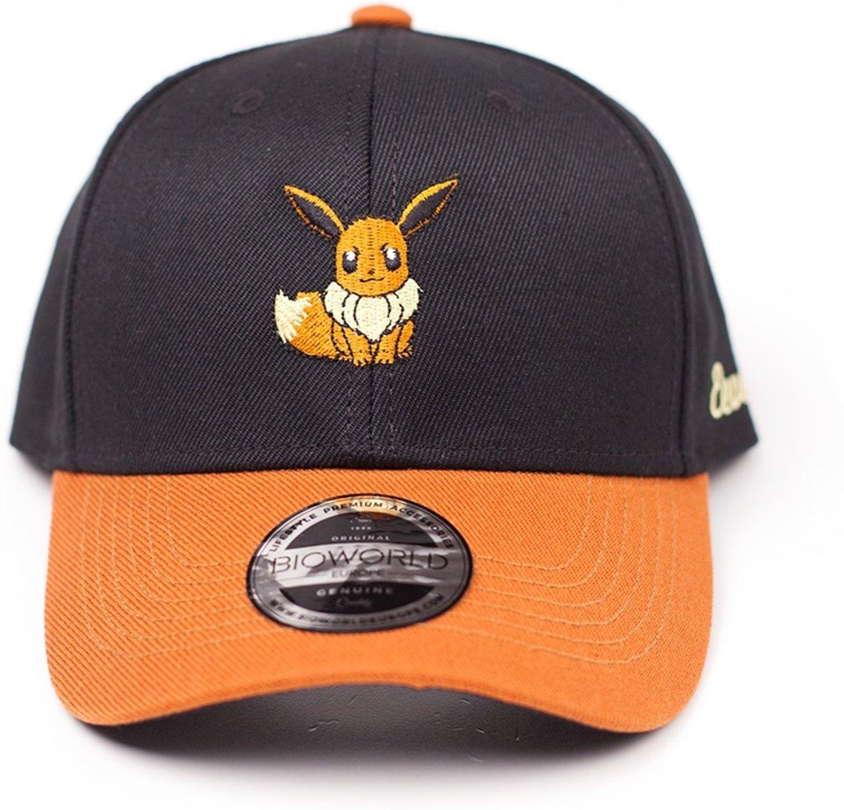 Pok?mon - Eevee pet met gebogen klep zwart/oranje - One size