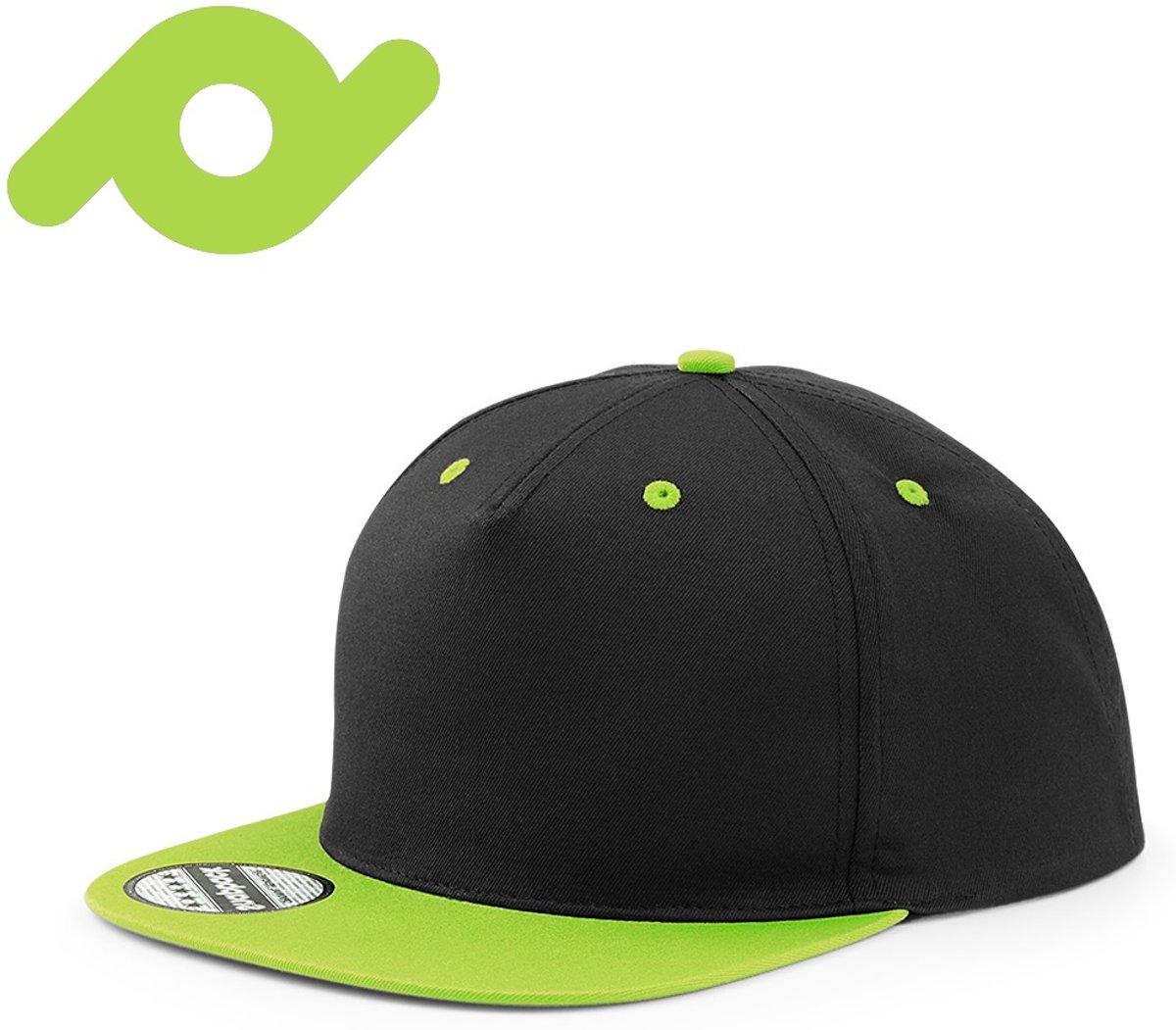 Senvi Snapback met Platte Klep Zwart/Lime (One size fits all)