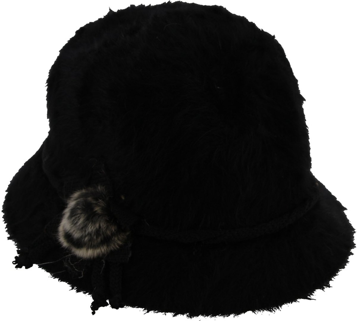 Dameshoed met Lint en Versiering - Cloche - Wol en Acryl - One Size - Zwart - Dielay