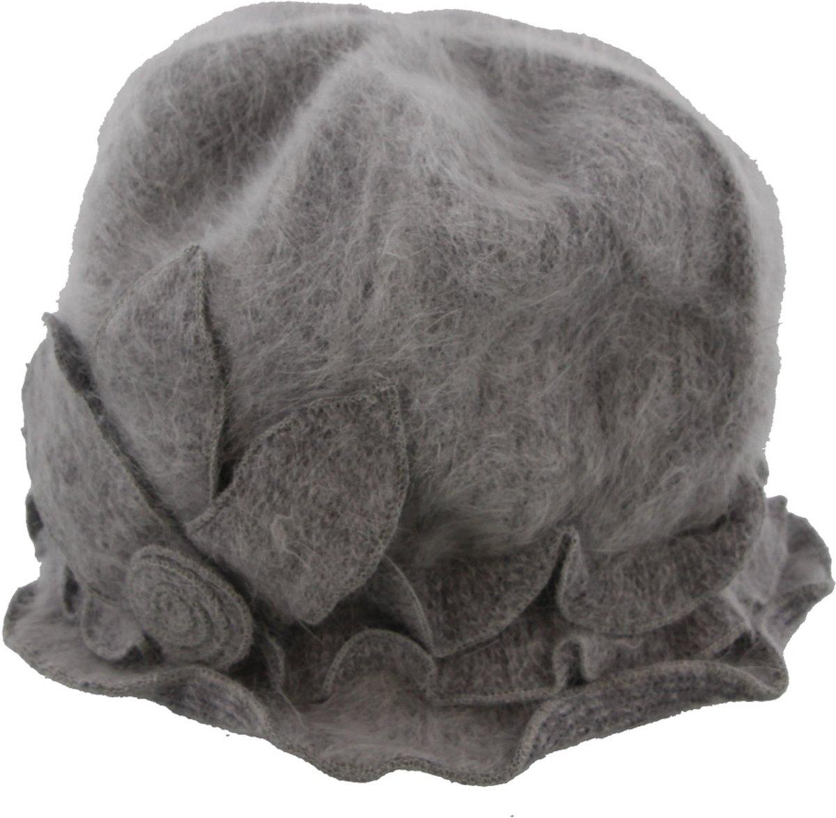 Dameshoed met Bloem - Cloche - Wol en Acryl - One Size - Grijs - Dielay