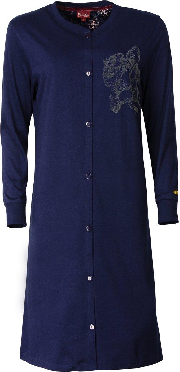 Medaillon dames doorknoop nachthemd Blauw MENGD2602B Maten: XL