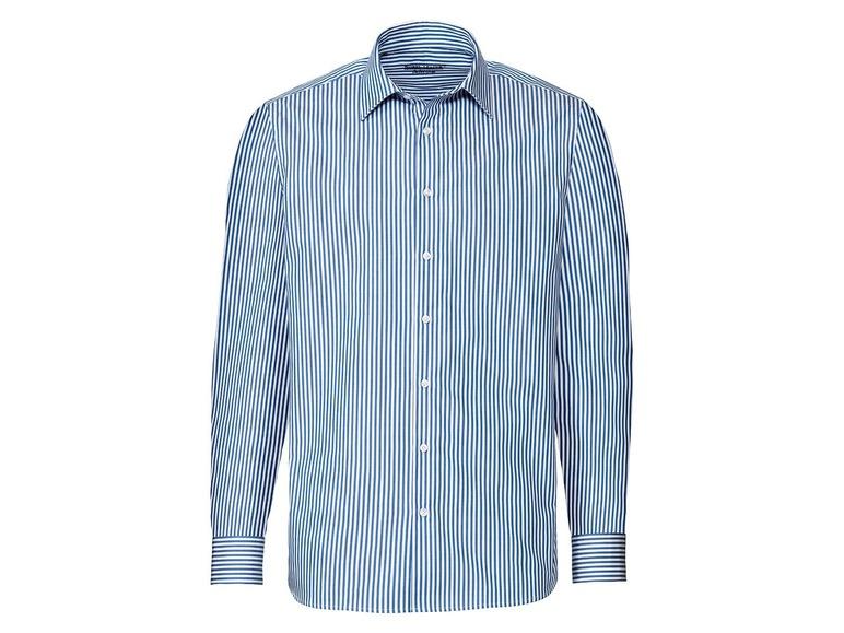 Nobel League Selection Heren overhemd slim fit 39, Strepen blauw/wit