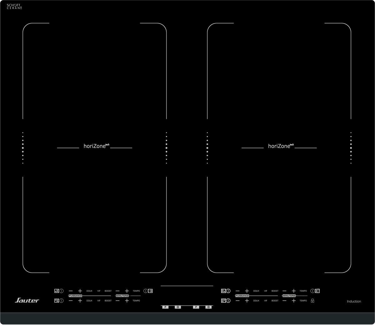 Sauter SPI4764B kookplaat Zwart Ingebouwd Zone van inductiekookplaat