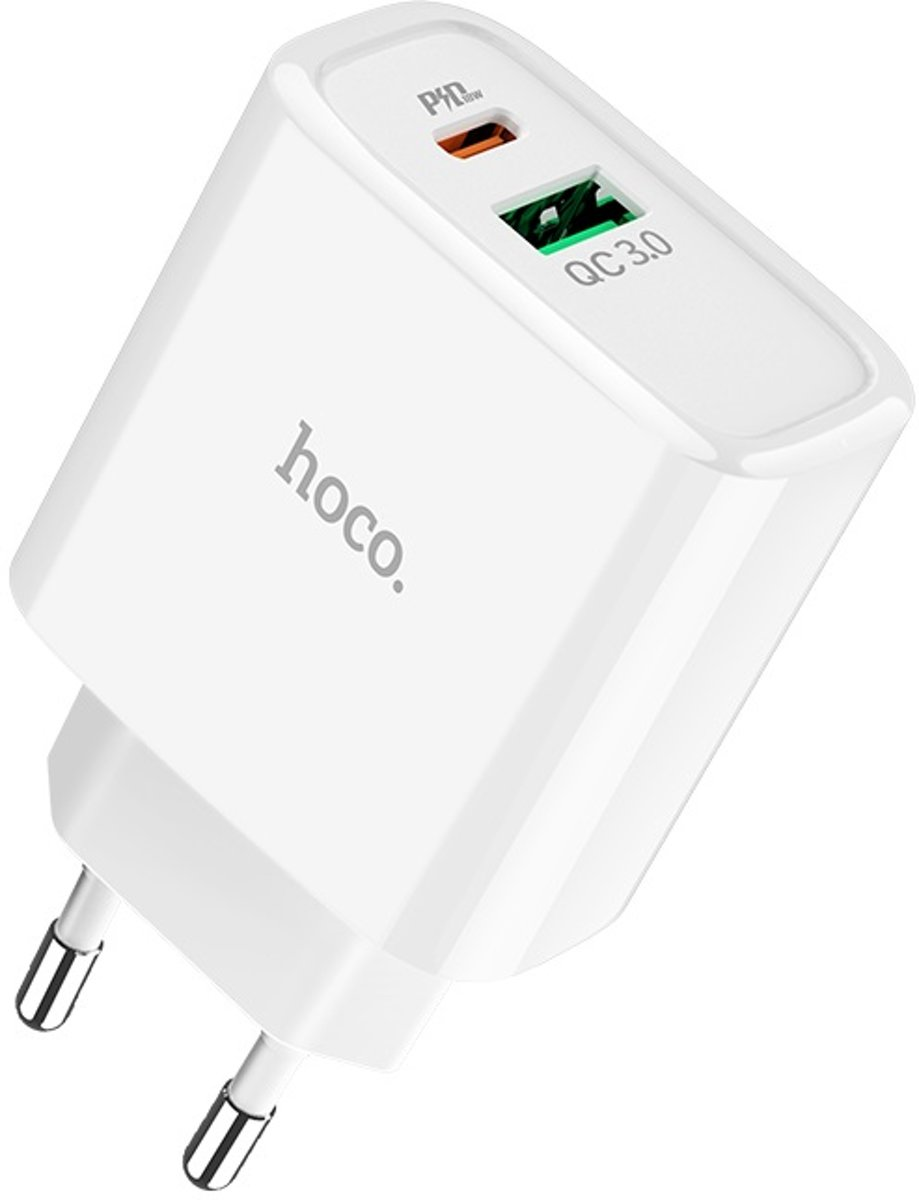 HOCO C57A Speed Charger PD+QC3.0 Duo-poort 18W oplader - Power Delivery + Quick Charge 3.0 oplader - Voor Apple iPhone, Samsung, Huawei, Xiaomi, etc - Wit