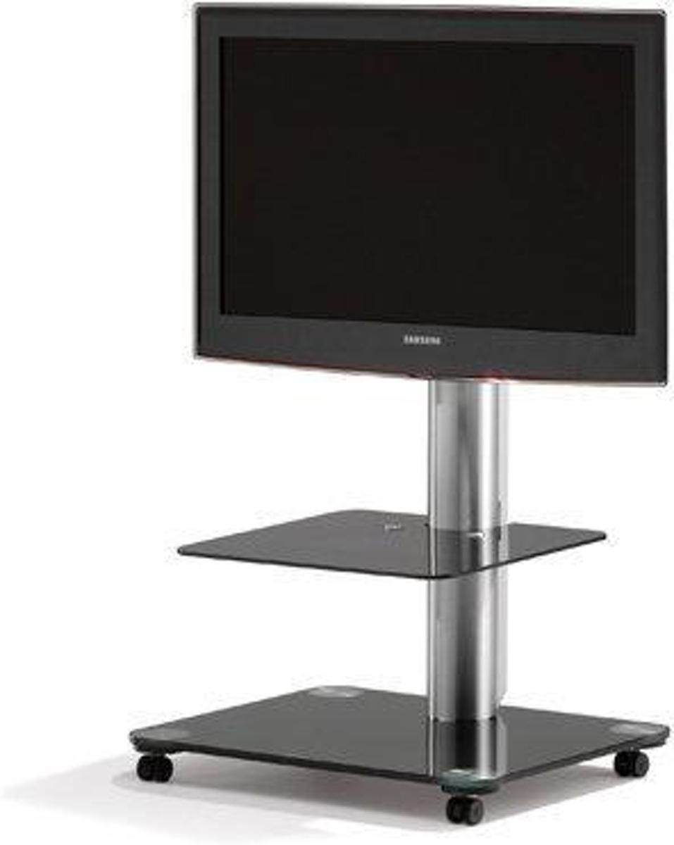 Spectral Floor QX1011-BG (zwart glas) verrijdbare tv standaard voor 32