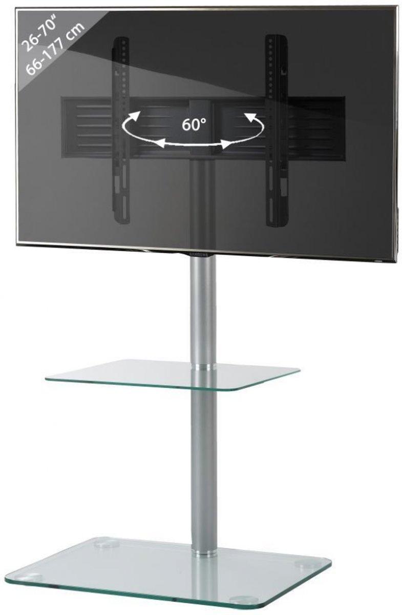 TV Standaard TV voet Alani draaibaar ( zilver / helder glas )