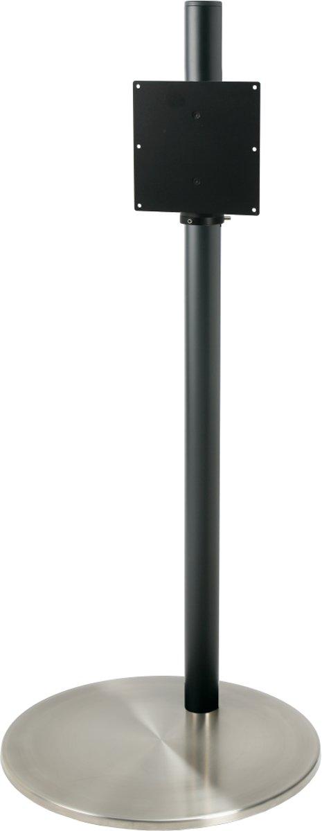 Cavus zwarte vloerstandaard met RVS voet voor schermen tot 32 inch - 100 cm hoog