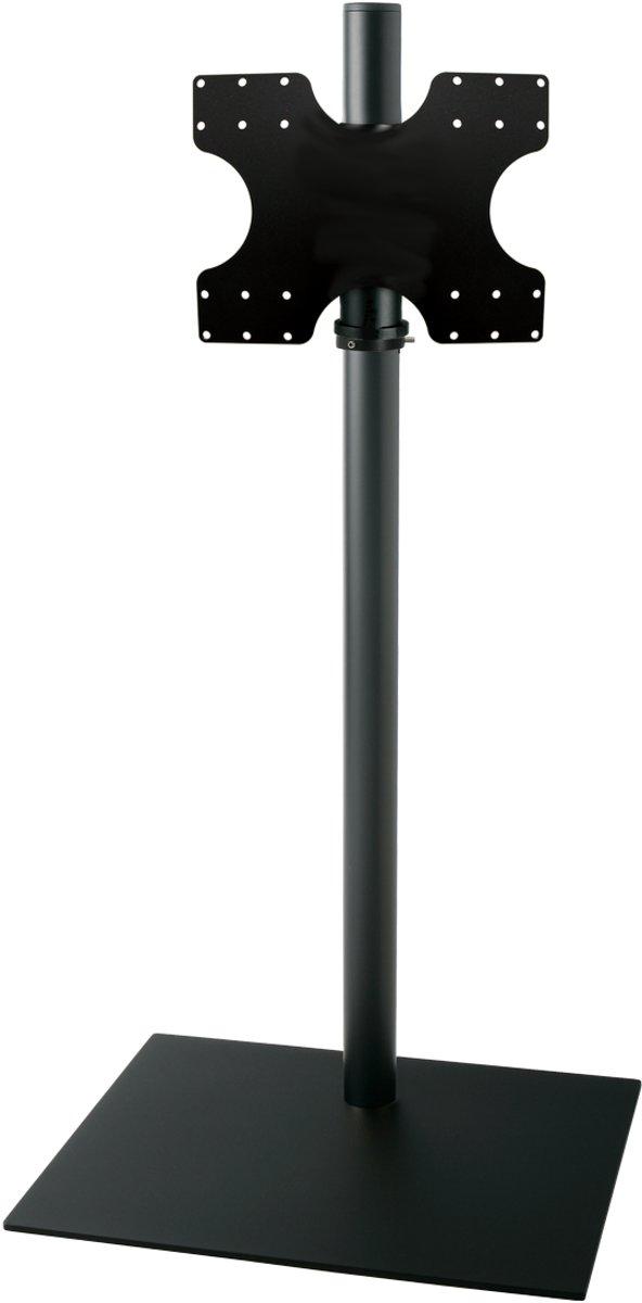 Cavus zwarte vloerstandaard met zwarte voet voor TV's tot 55 inch - 120 cm hoog