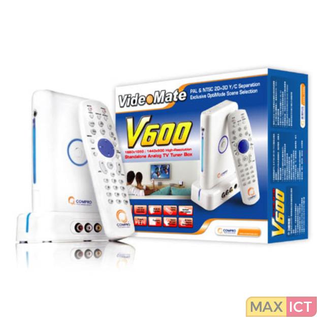 Compro Compro VideoMate V600. TV tuner type: Analoog. Formaat analoog signaal: NTSC,PAL, Maximum resolutie: 1680 x 1050 Pixels, Beeldverhoudin 16:10. Soort aansluitin VGA-plug. Kleur van het product: Wit. Ingangsspannin 12