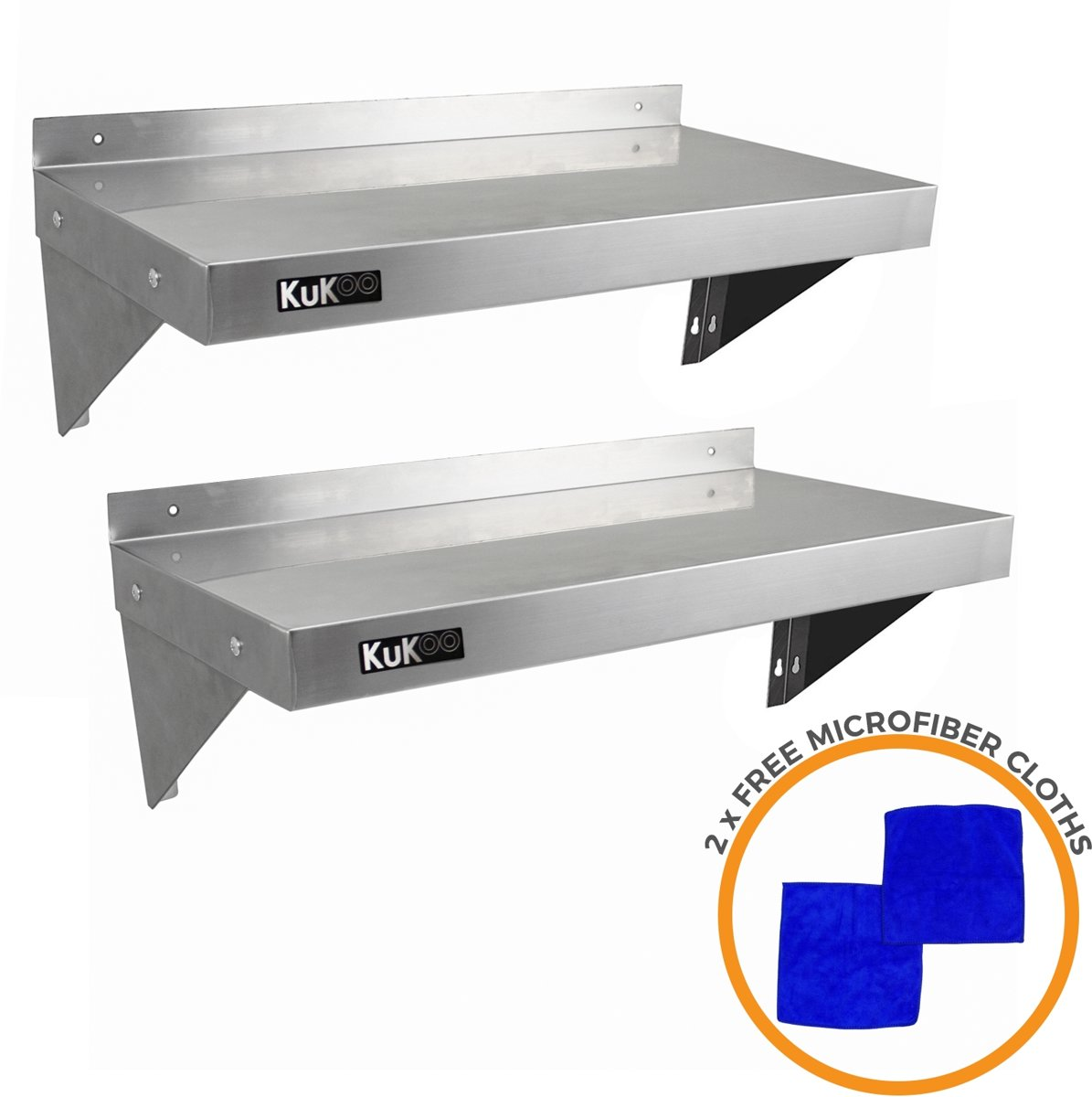 KuKoo ? Wandschap - RVS Keuken plank ? Roestvast wandplank set 2x ? 90cm x 30cm