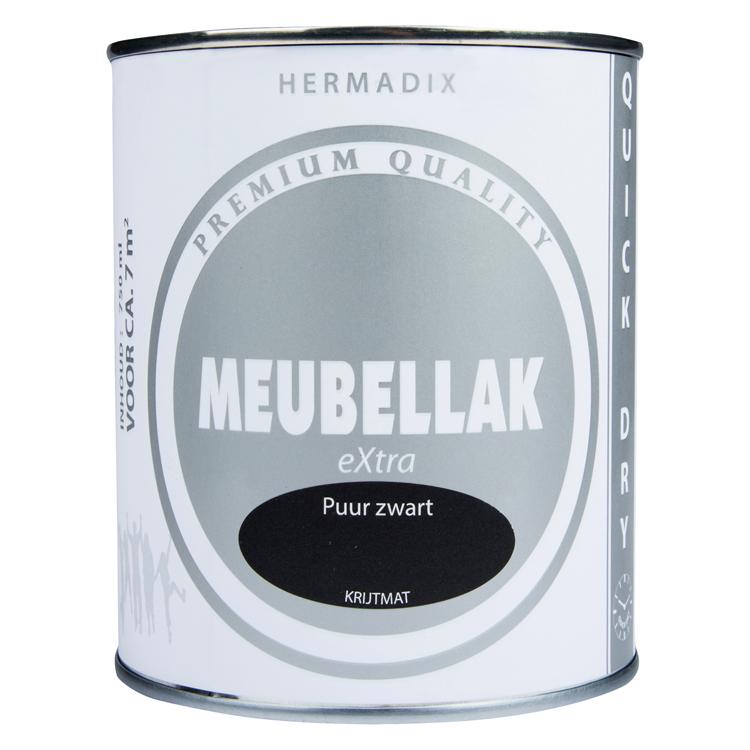 Hermadix meubellak extra puur zwart krijtmat 750ml