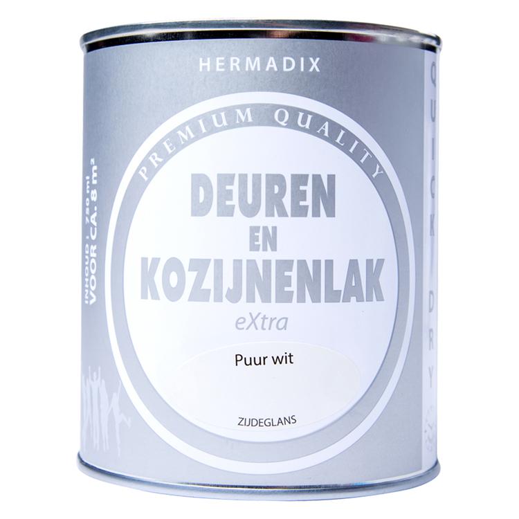 Hermadix deuren en kozijnenlak extra puur wit zijdeglans 750ml