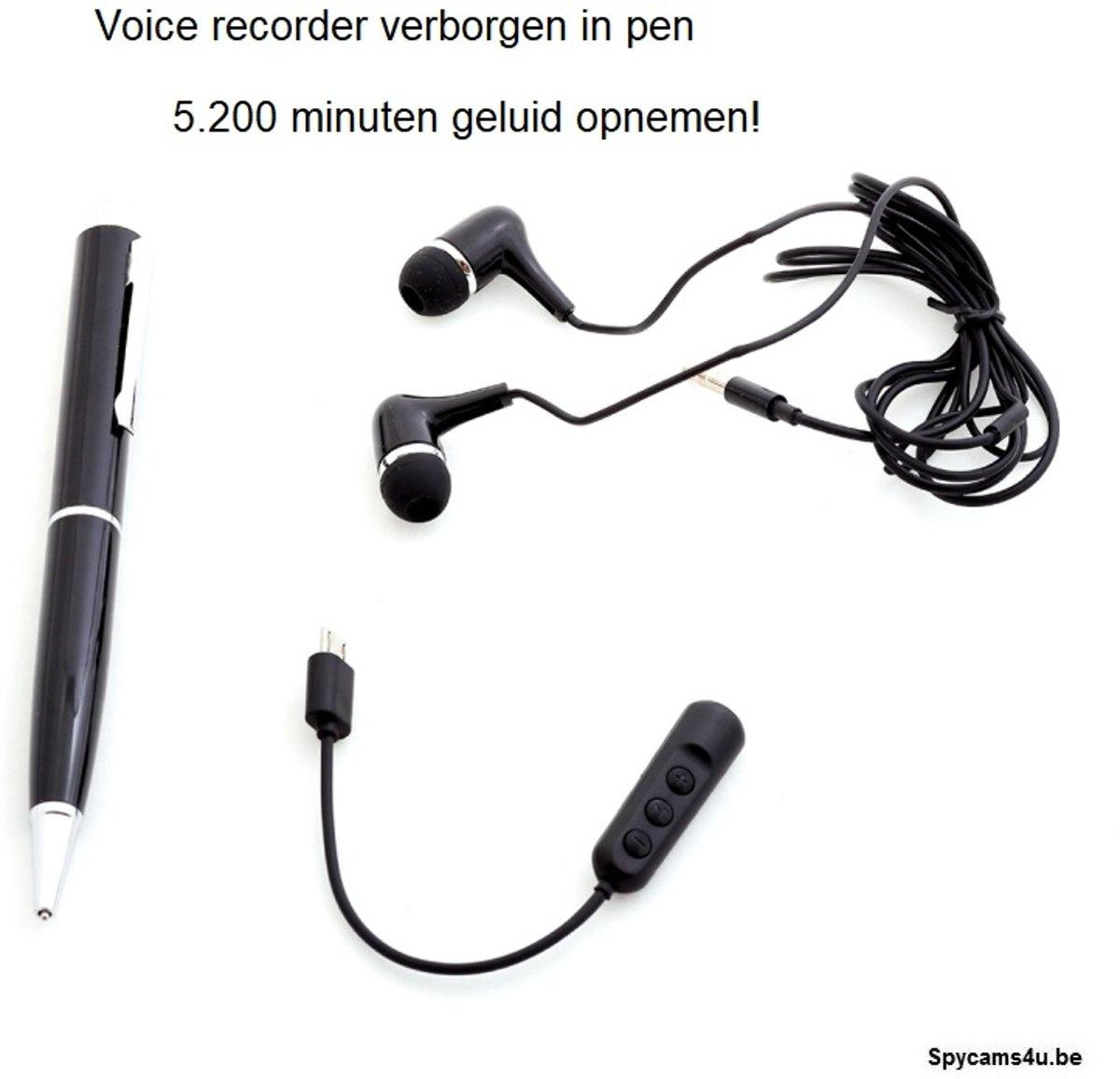 Spy recorder in pen - voice recorder verborgen in pen - spy camera - geluidsrecorder verborgen in pen