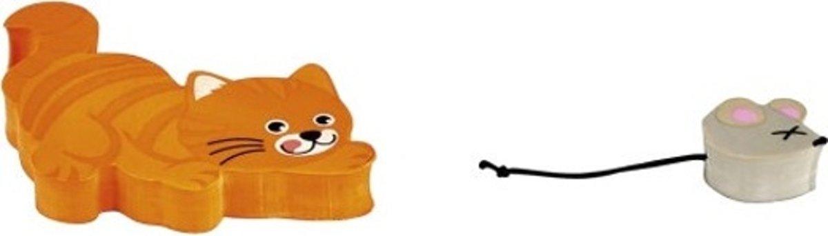 Moses gummenset kat en muis 6,5 cm oranje/grijs
