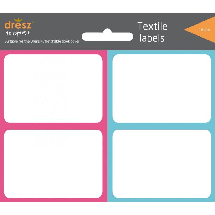 textieletiketten voor rekbare boekenkaft, 16 stuks