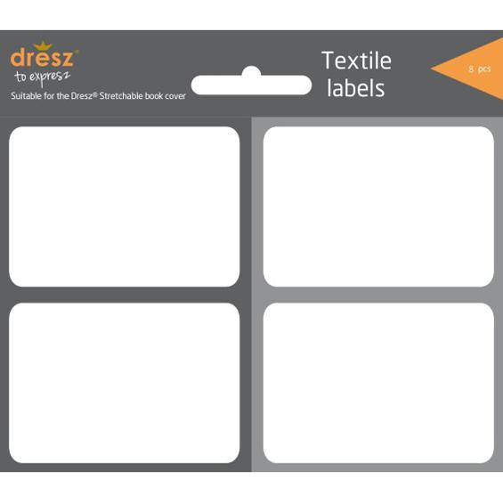 textieletiketten voor rekbare boekenkaften grijs, 8 stuks