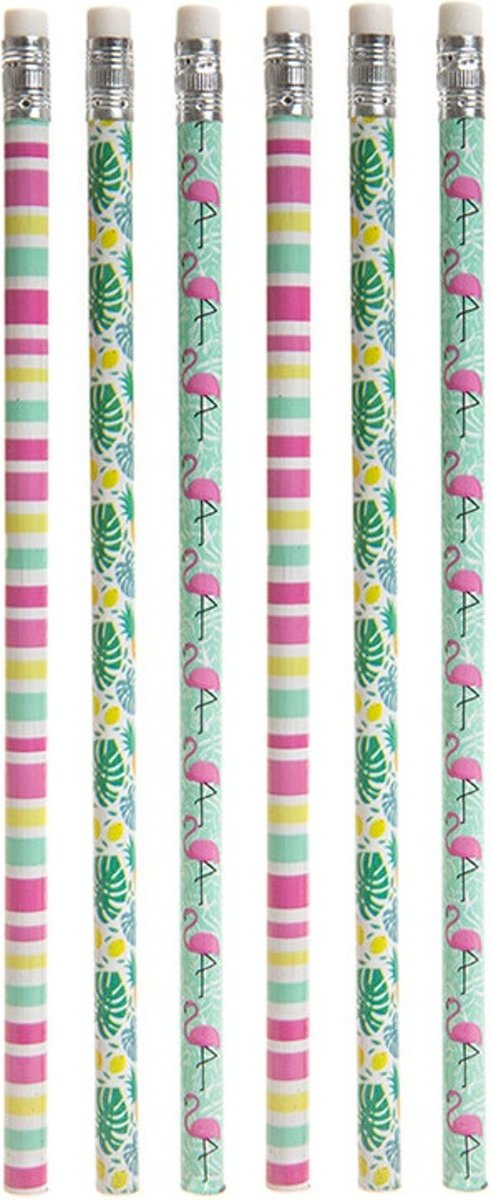 PMS potloden flamingo multicolor 6 stuks