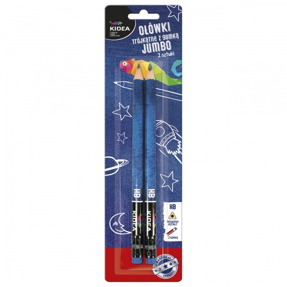 Kidea HB potloden driekantig met gum 2 stuks ? 1 cm