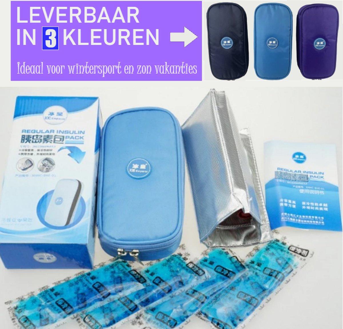 Koeltas DONKERBLAUW Opbergtas voor Insuline Spuiten / Prikpennen voor Diabetes | Ideaal voor vakantie en op reis | Gekoelde opslag bij suikerziekte | Compacte opslag voor Diabetis benodigdheden | Isoleert prima | Met Therm
