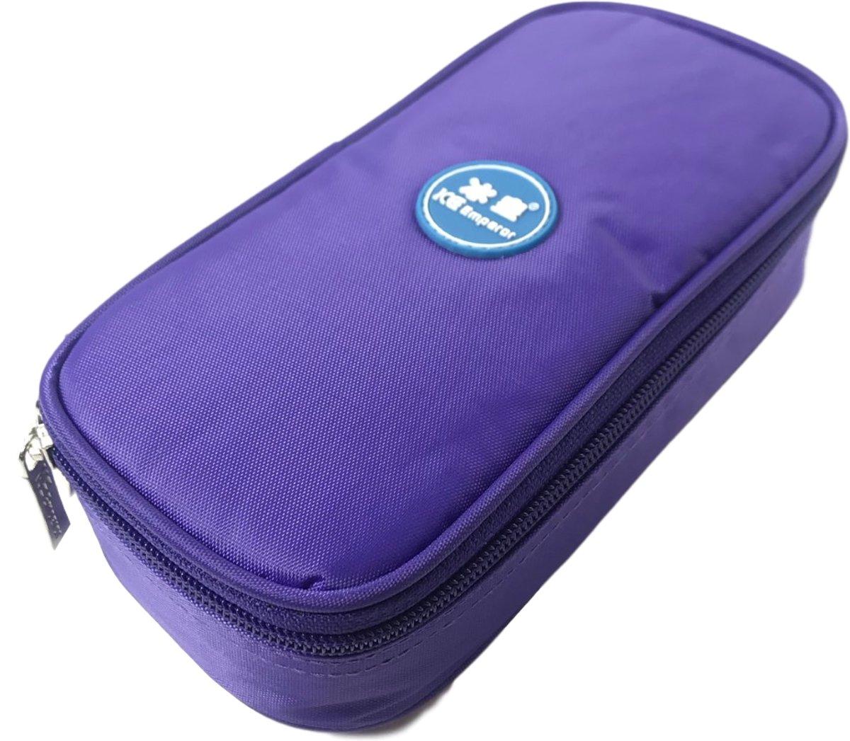 Koeltas PAARS Opbergtas voor Insuline Spuiten / Prikpennen voor Diabetes | Ideaal voor vakantie en op reis | Gekoelde opslag bij suikerziekte | Compacte opslag voor Diabetis benodigdheden | Isoleert prima | Met Thermometer