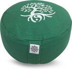 groen Round meditatie kussen Tree of life with buckwheat f