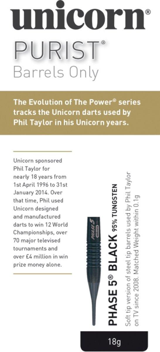 Unicorn Purist P5 The Power Black 90% 18 gram Softtip Darts