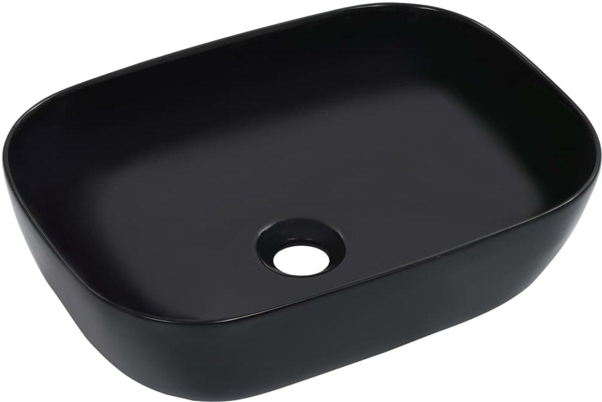 vidaXL Wastafel 45.5x32x13 cm keramiek zwart