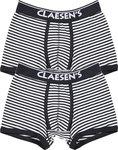 Claesen's Jongens 2-pack Boxershort  - Navy/White Stripes - Maat 140-146