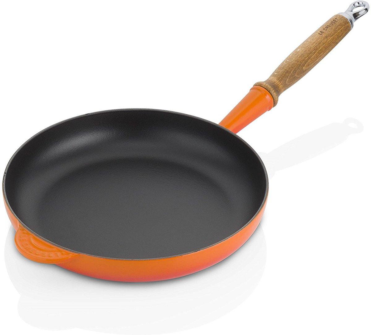 Le Creuset gietijzeren koekenpan met houten handvat 28cm oranjerood