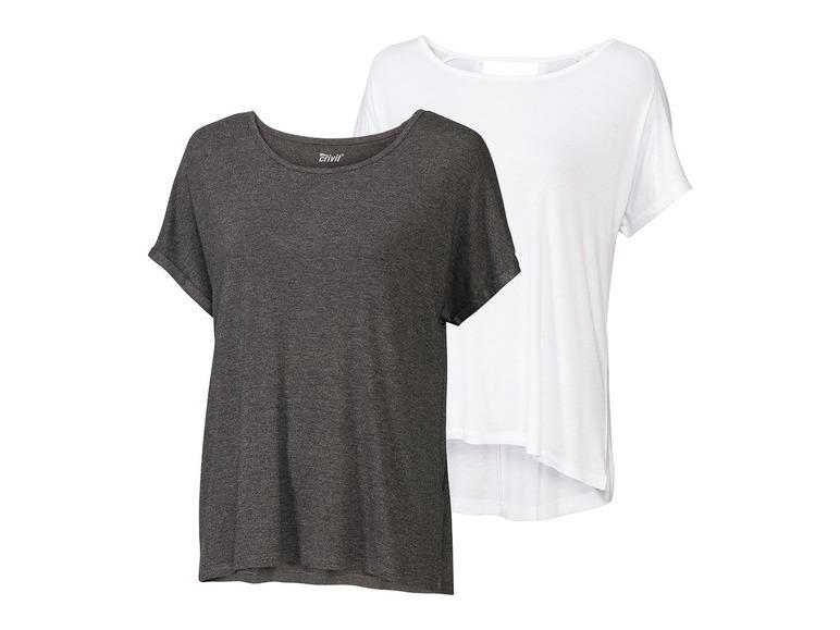 2 dames yoga T-shirts XS (32/34), Grijs/wit