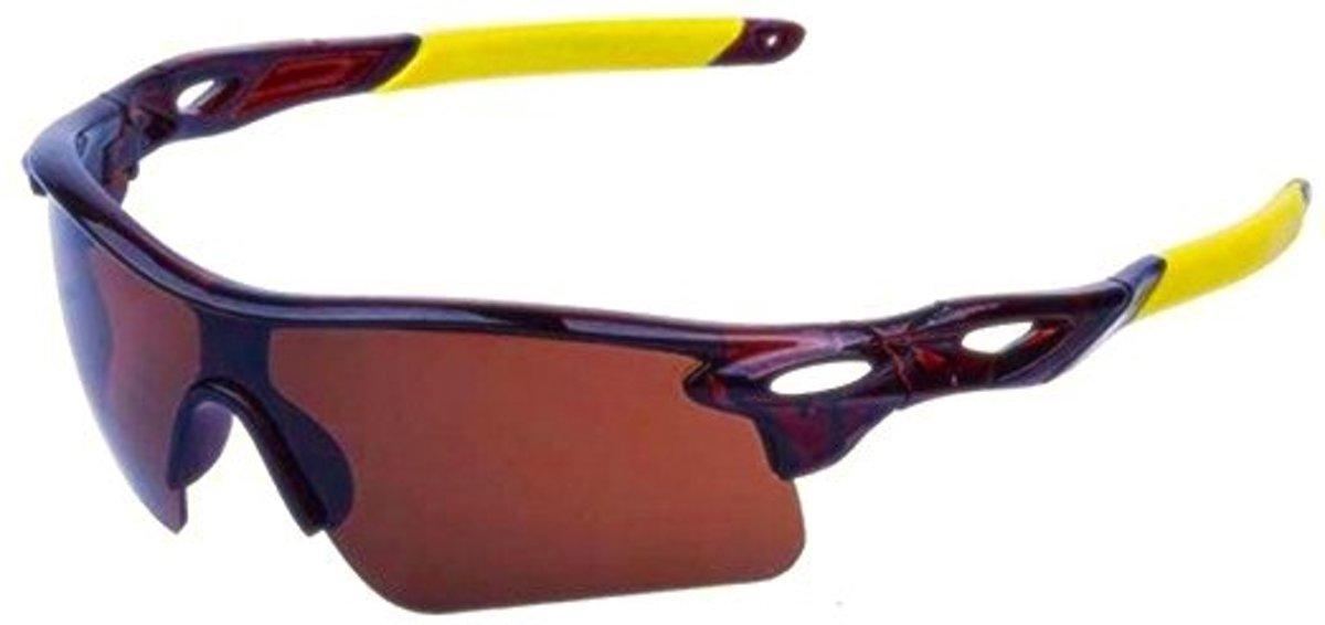 fietsbril/ sportbril UV400 outdoor (bruin-geel)
