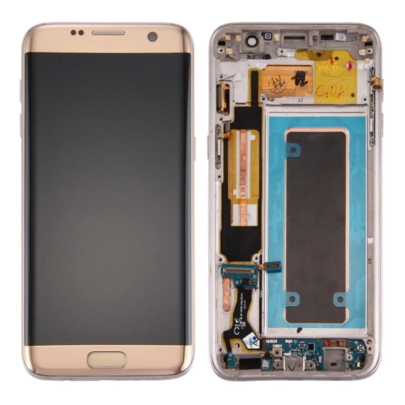 Originele LCD-scherm en Digitizer met Frame & opladen poort Board & Volume knop & / uit-knop voor Galaxy S7 Edge / G935F(Gold)