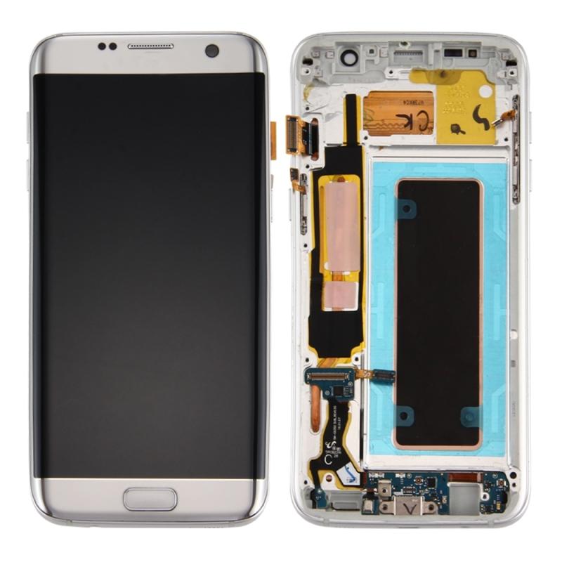 Originele LCD-scherm en Digitizer met Frame & opladen poort Board & Volume knop & / uit-knop voor Galaxy S7 Edge / G935F(Silver)