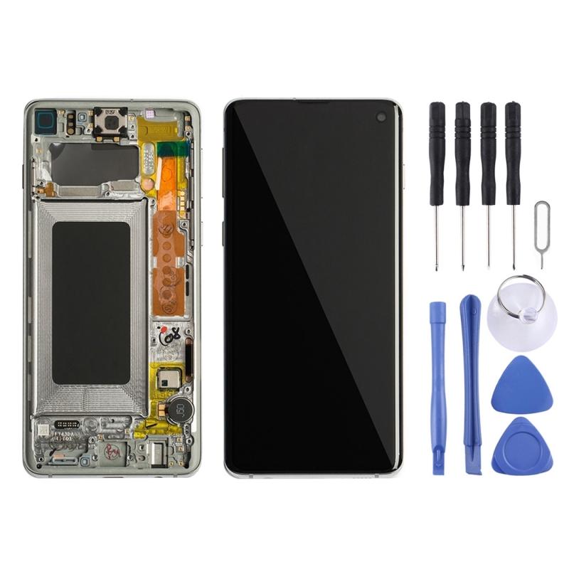 LCD-scherm en digitizer volledige montage met frame voor Galaxy S10 (wit)