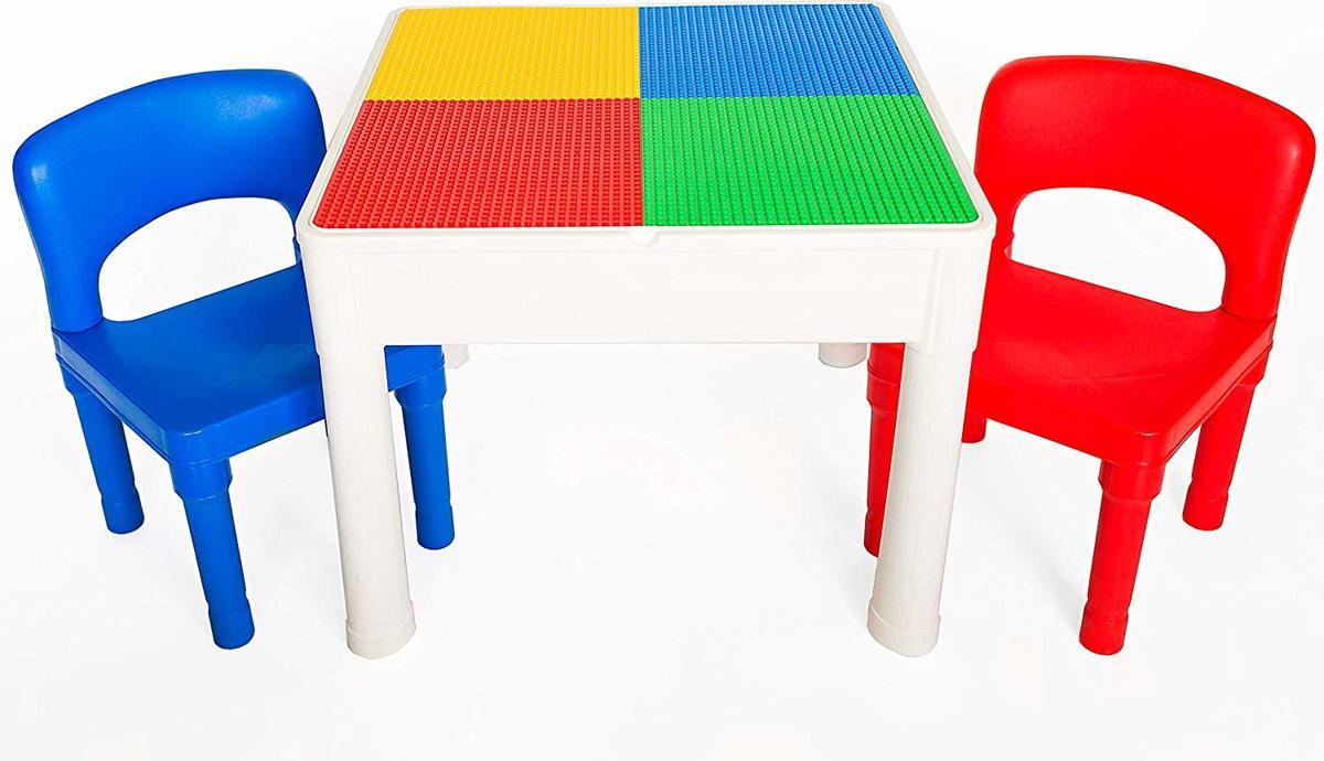 Play&Build 4 in 1 Tafel set - Kindertafel en Stoelen Sets voor binnenactiviteiten, buitenspelen, speelgoedopslag & bouwsteenplezier Inclusief 2 peuterstoelen - wit