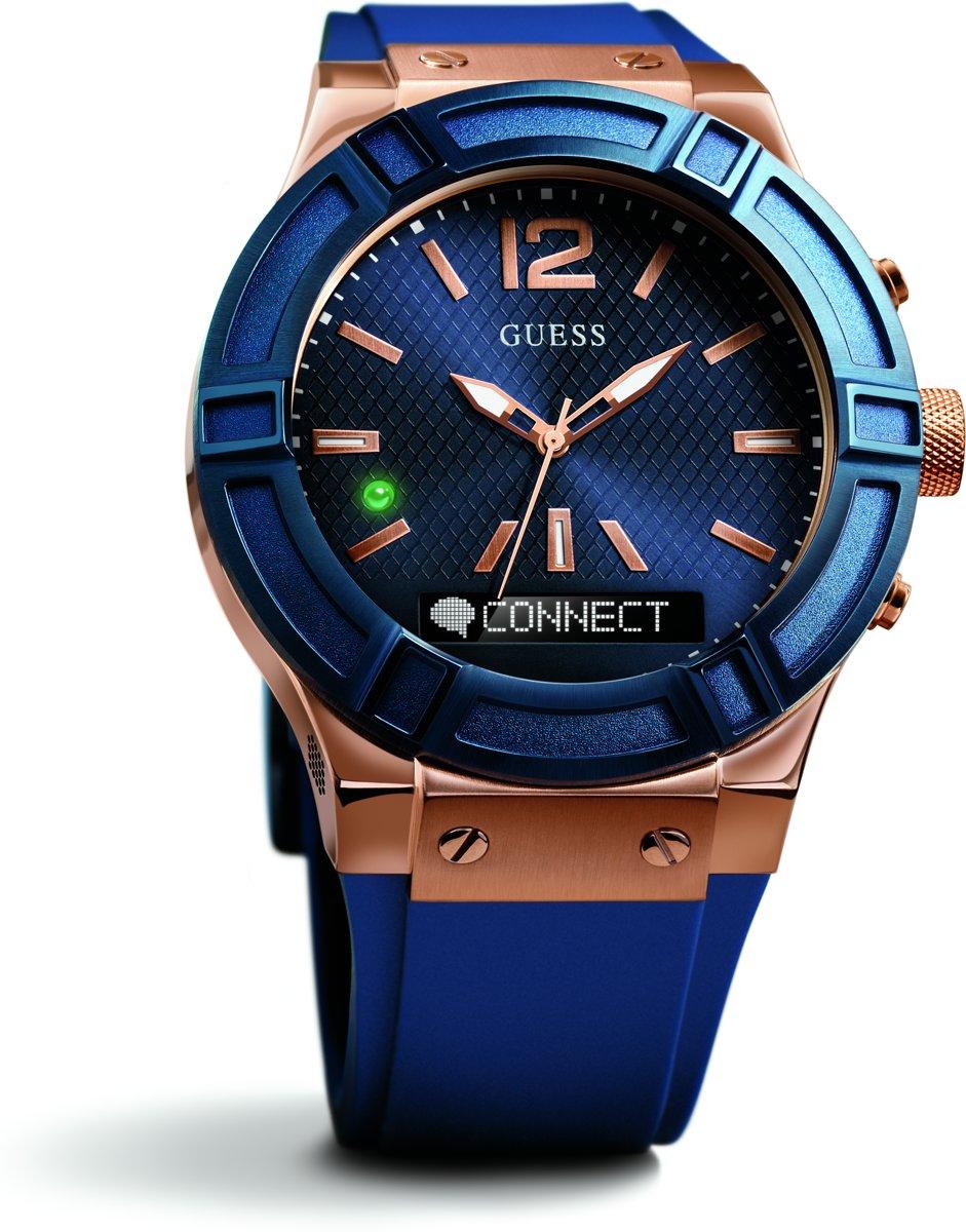 GUESS Watches Heren Horloge C0001G1 - siliconen - blauw - Ø 45 cm
